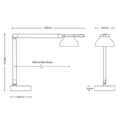 Dimensions for HAY Office PC Double Arm Task Light