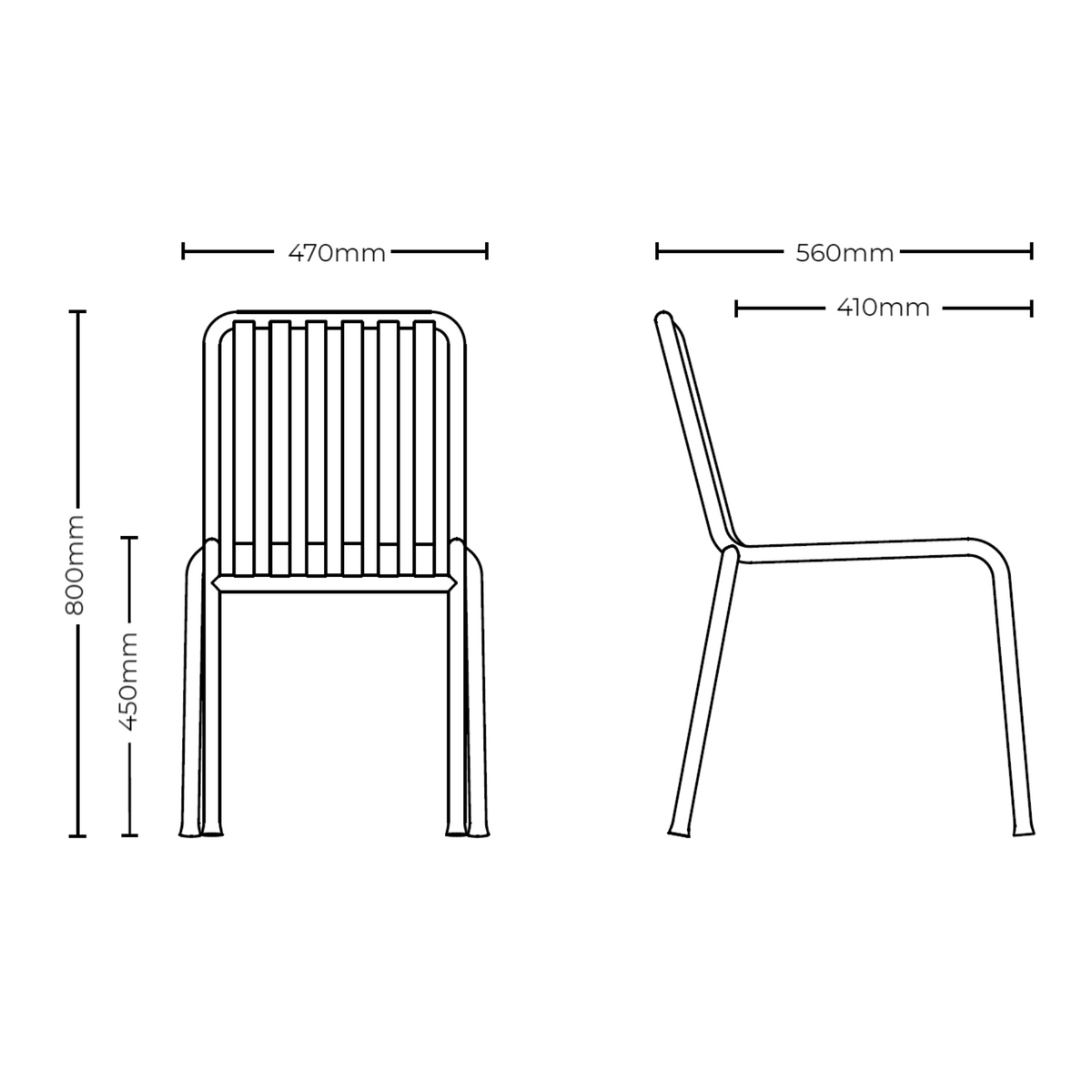 Dimensions for HAY Office Pair of Palissade Chairs