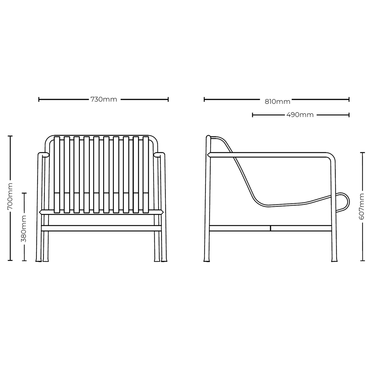 Dimensions for HAY Palissade Lounge Chair Low Office