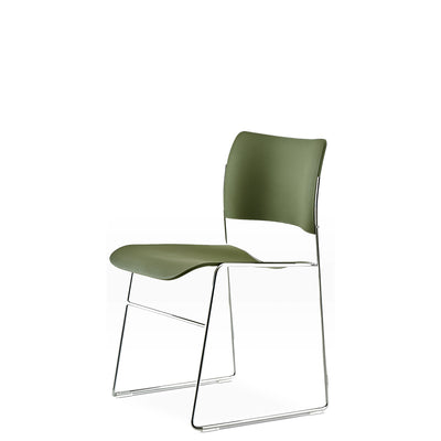 HOWE Plastic Resin Olive Green Chair with Chrome Base by David Rowland