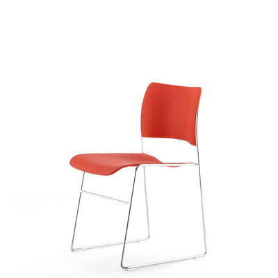 HOWE Plastic Resin Ayers Rock Red Chair with Chrome Base by David Rowland