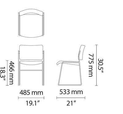 Dimensions for HOWE 40/4 Veneered Side Chair by David Rowland