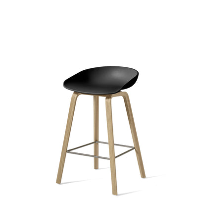 HAY About A Stool AAS32 750mm Black with Matt Lacquered Oak Base