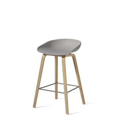 HAY About A Stool AAS32 750mm Concrete Grey with Matt Lacquered Oak Base