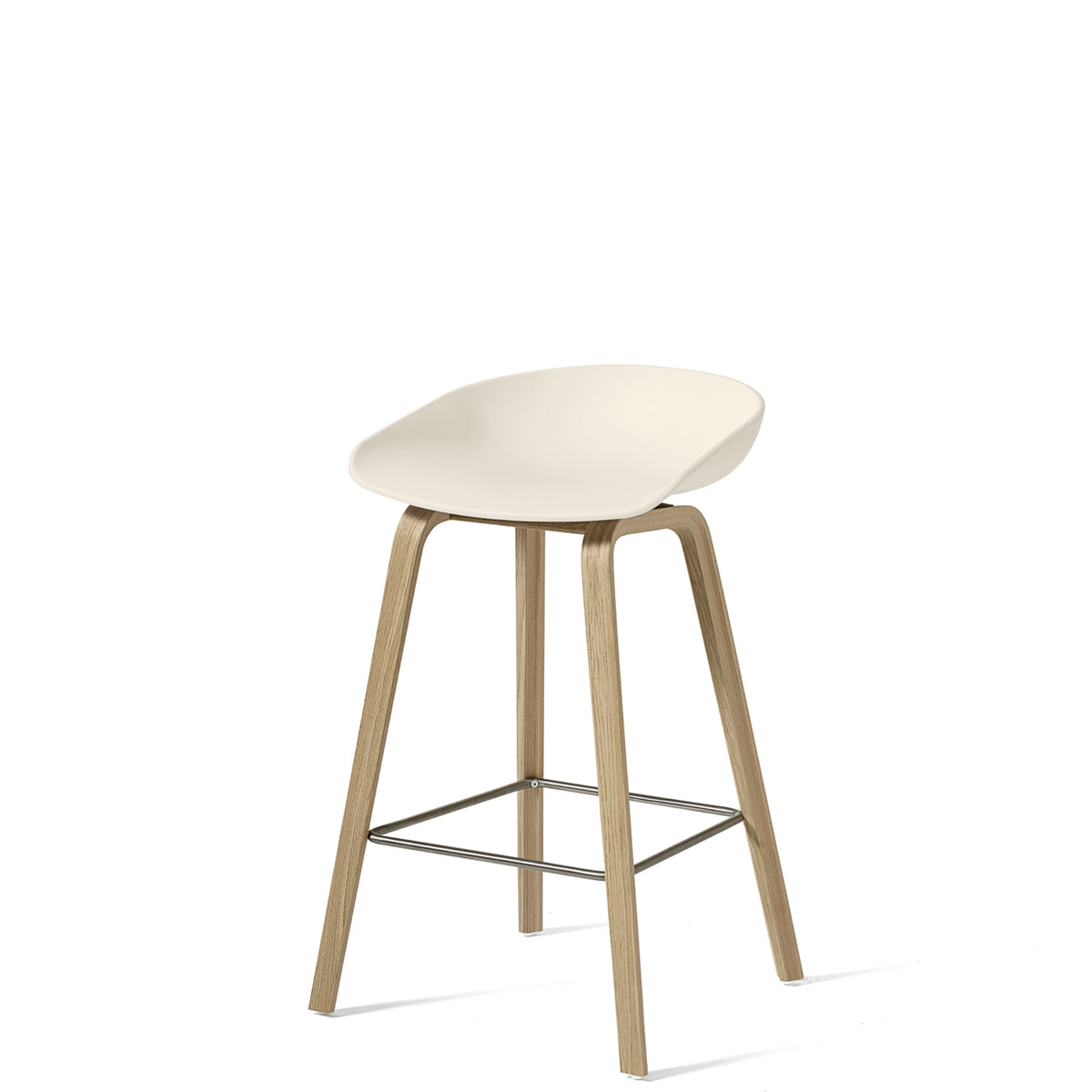 HAY About A Stool AAS32 750mm Cream White with Matt Lacquered Oak Base