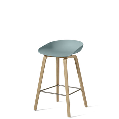 HAY About A Stool AAS32 750mm Dusty Blue with Matt Lacquered Oak Base