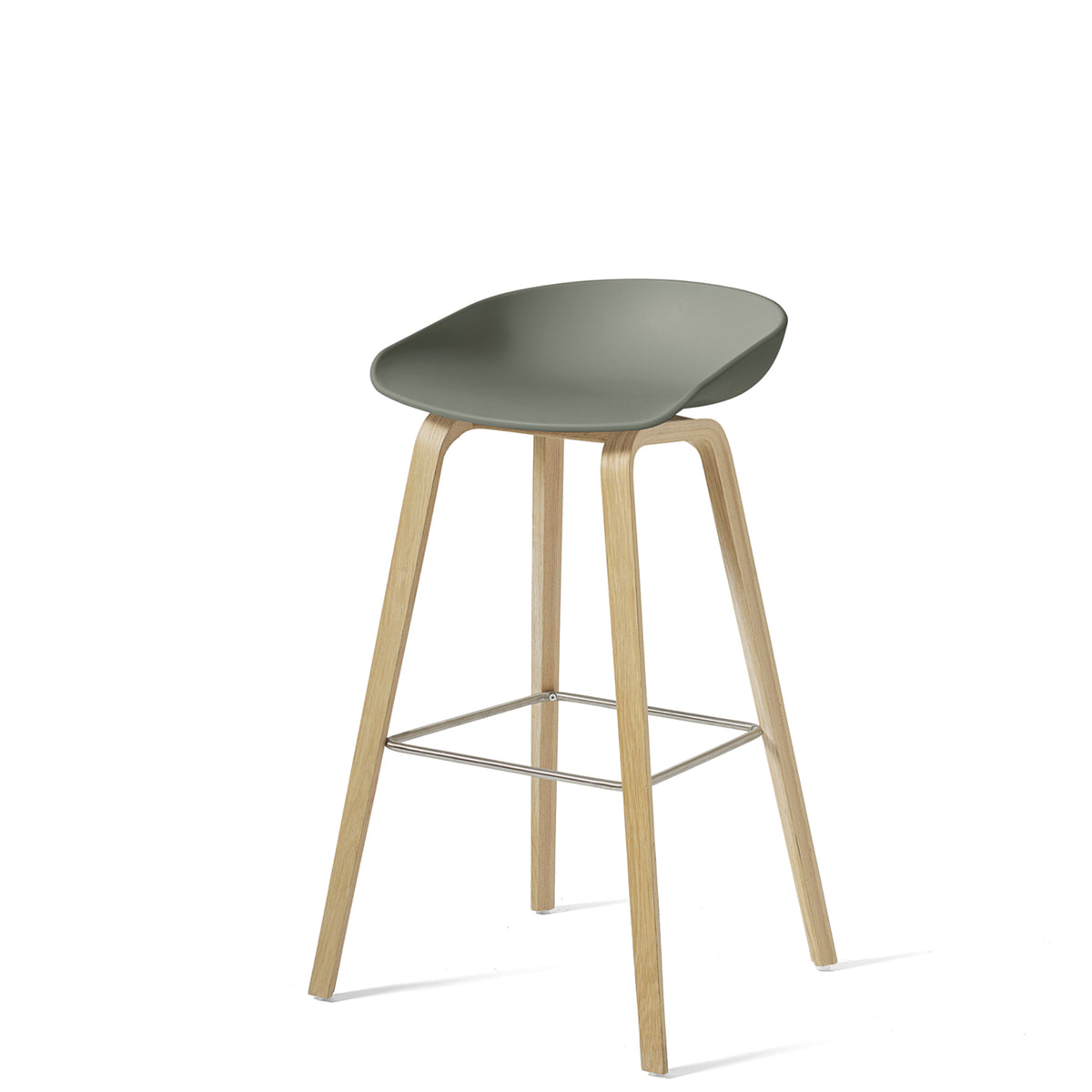 HAY About A Stool AAS32 850mm Dusty Green Matt Lacquered Oak Base