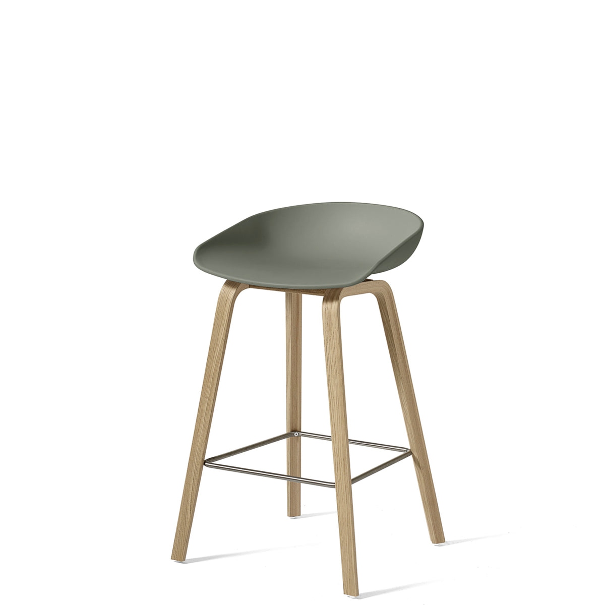 HAY About A Stool AAS32 750mm Dusty Green with Matt Lacquered Oak Base