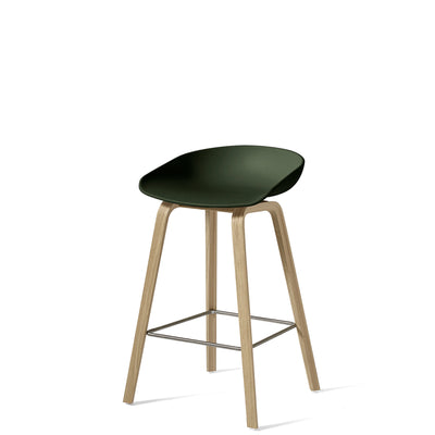 HAY About A Stool AAS32 750mm Green with Matt Lacquered Oak Base