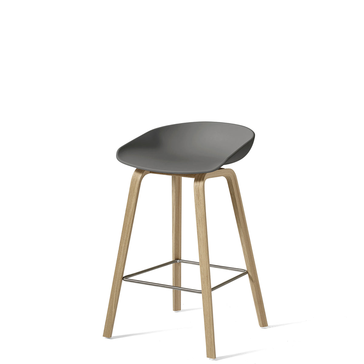 HAY About A Stool AAS32 750mm Grey with Matt Lacquered Oak Base