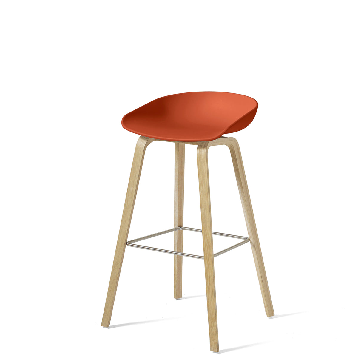HAY About A Stool AAS32 850mm Orange Matt Lacquered Oak Base