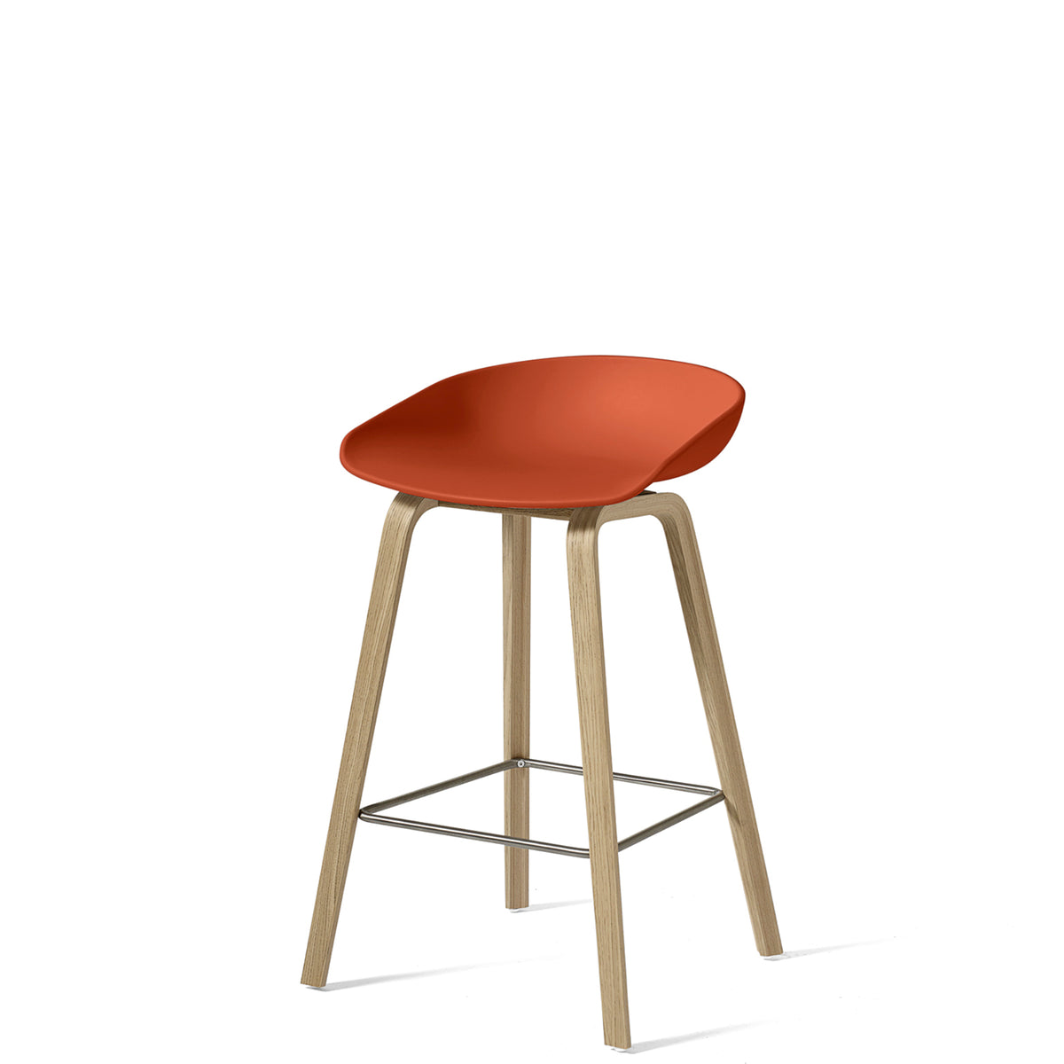 HAY About A Stool AAS32 750mm Orange with Matt Lacquered Oak Base