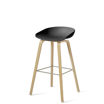 HAY About A Stool AAS32 850mm Soft Black Matt Lacquered Oak Base