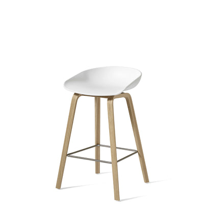 HAY About A Stool AAS32 750mm White with Matt Lacquered Oak Base