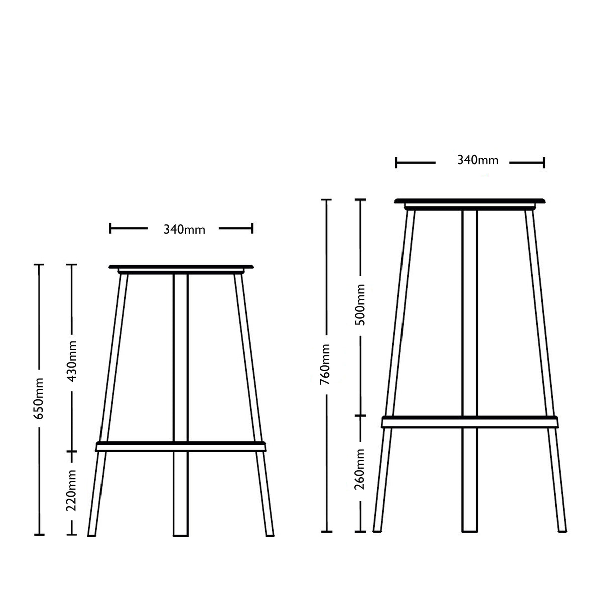Dimensions for HAY Office Revolver Bar Stool