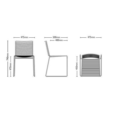 Dimensions for HAY Hee Dinning Chairs