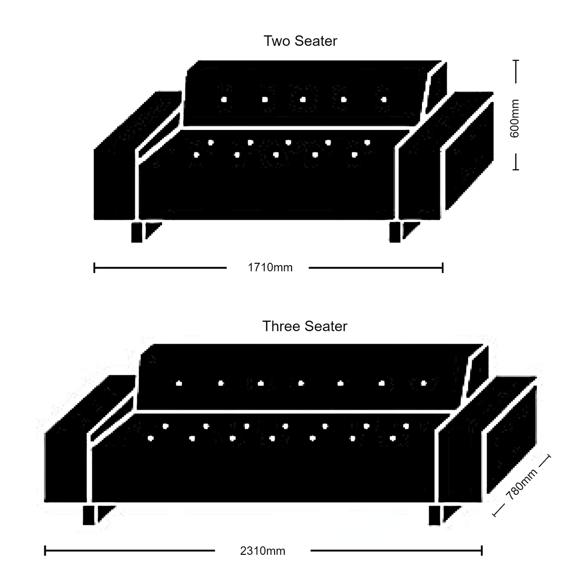 Dimensions for Hitch Mylius Office HM46 Abbey Two Seat Sofa Seating