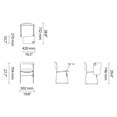 Dimensions for HOWE 40/4 Chair with Writing Tablet Options