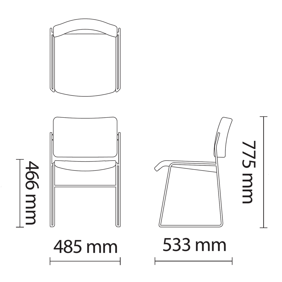 Dimensions for HOWE 40/4 Fully Upholstered Side Chair with Chrome Base by David Rowland