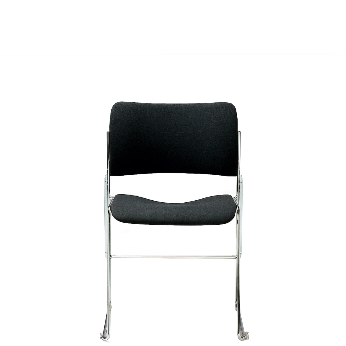 HOWE 40/4 Fully Upholstered Black Side Chair with Chrome Base by David Rowland