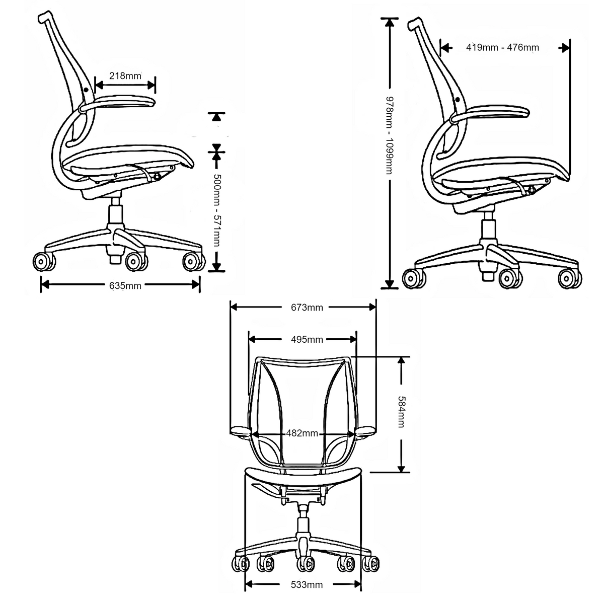 Dimensions for Humanscale Office Liberty® Task Chair