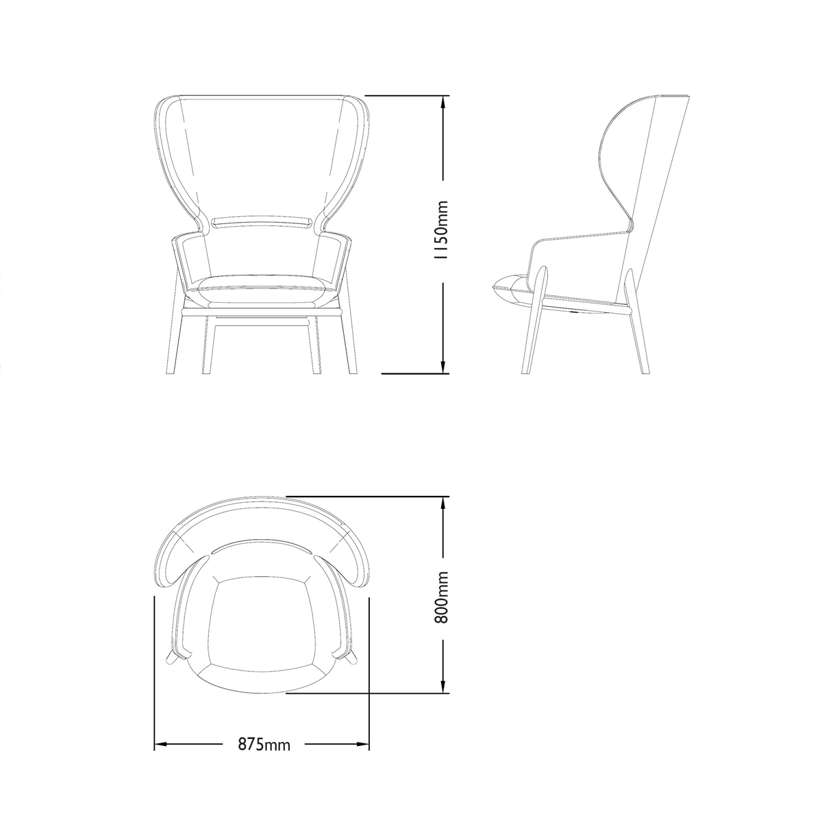 Dimensions for Connection Office Hygge High Back Oak Chair
