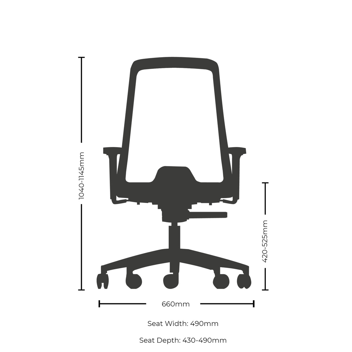 Dimensions for Interstuhl EVERYIS1 Office Task Chair 172E