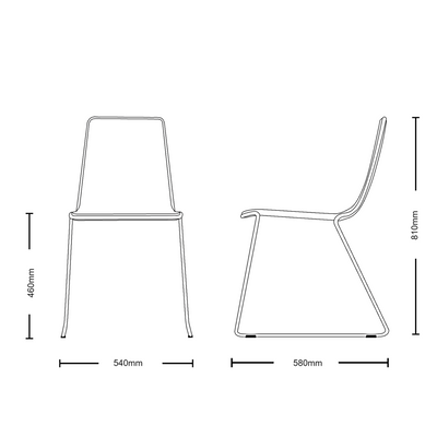 Dimensions for Johanson Design Office Speed Stackable Chair Set of Four