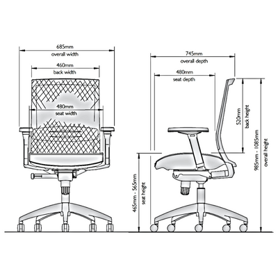 Dimensions for KI Europe Office Black Sift Task Chair