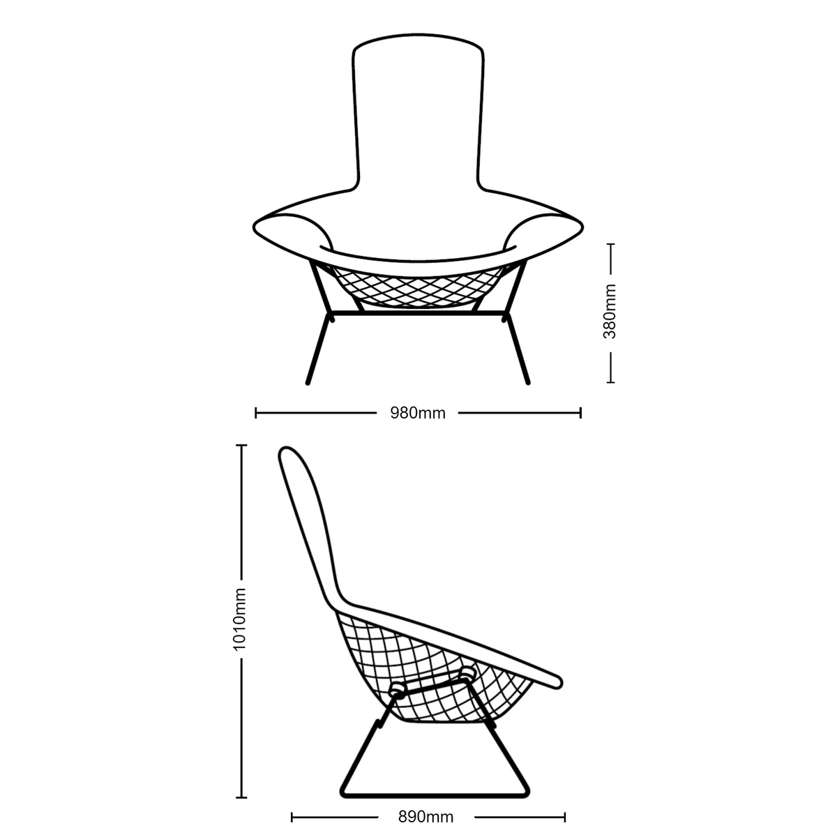 Dimensions for Knoll Bertoia Bird Lounge Chair