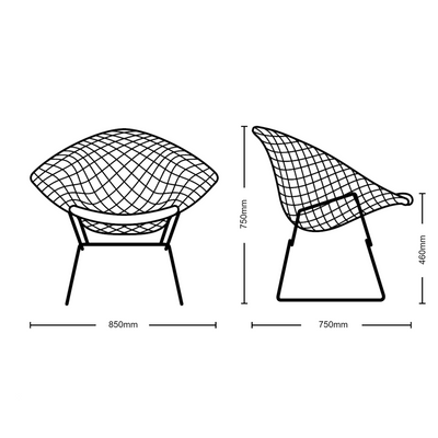 Dimensions for Knoll Bertoia Diamond Lounge Chair with Seat Pad