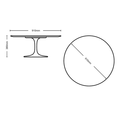Dimensions for Knoll Saarinen Tulip Arabescato Marble Table