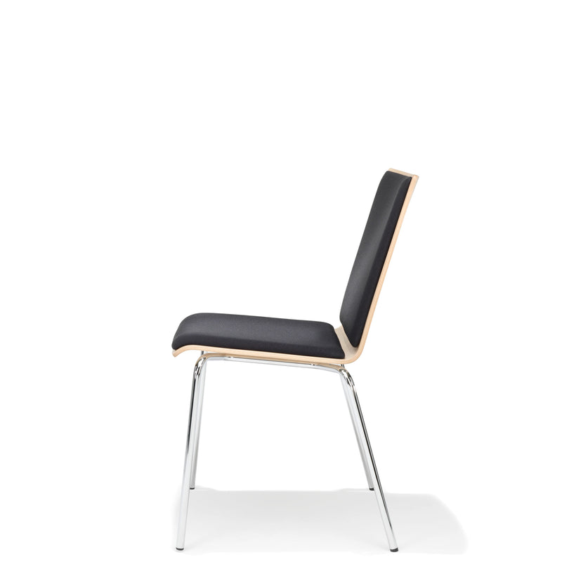 Kusch+Co Upholstered Stackable Dark Grey Chair with Chrome Legs