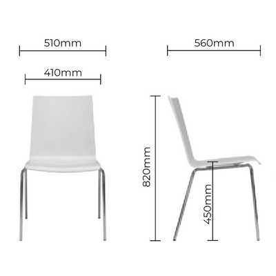 Dimensions for Kusch+Co Upholstered Stackable Chair with Chrome Legs