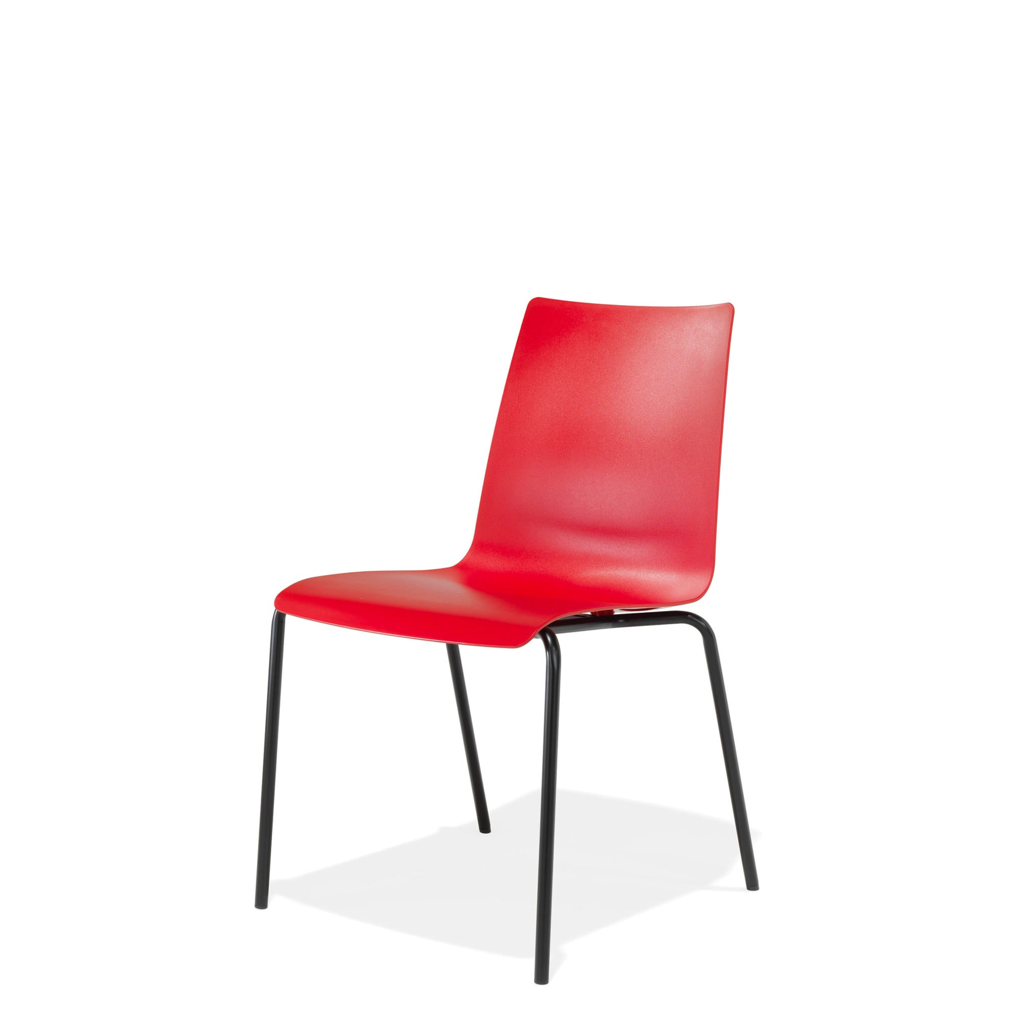 Kusch+Co Stackable Red Chair with Black Powder Coated Base
