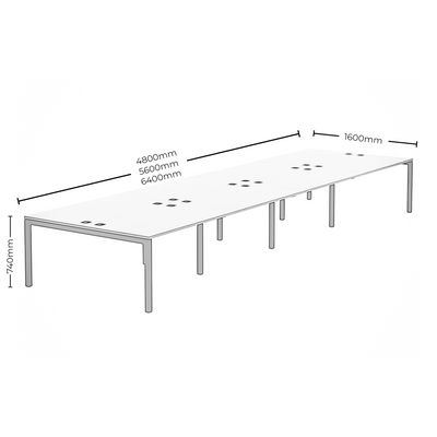 Dimensions for Elite Office Matrix Desk Bank of Eight