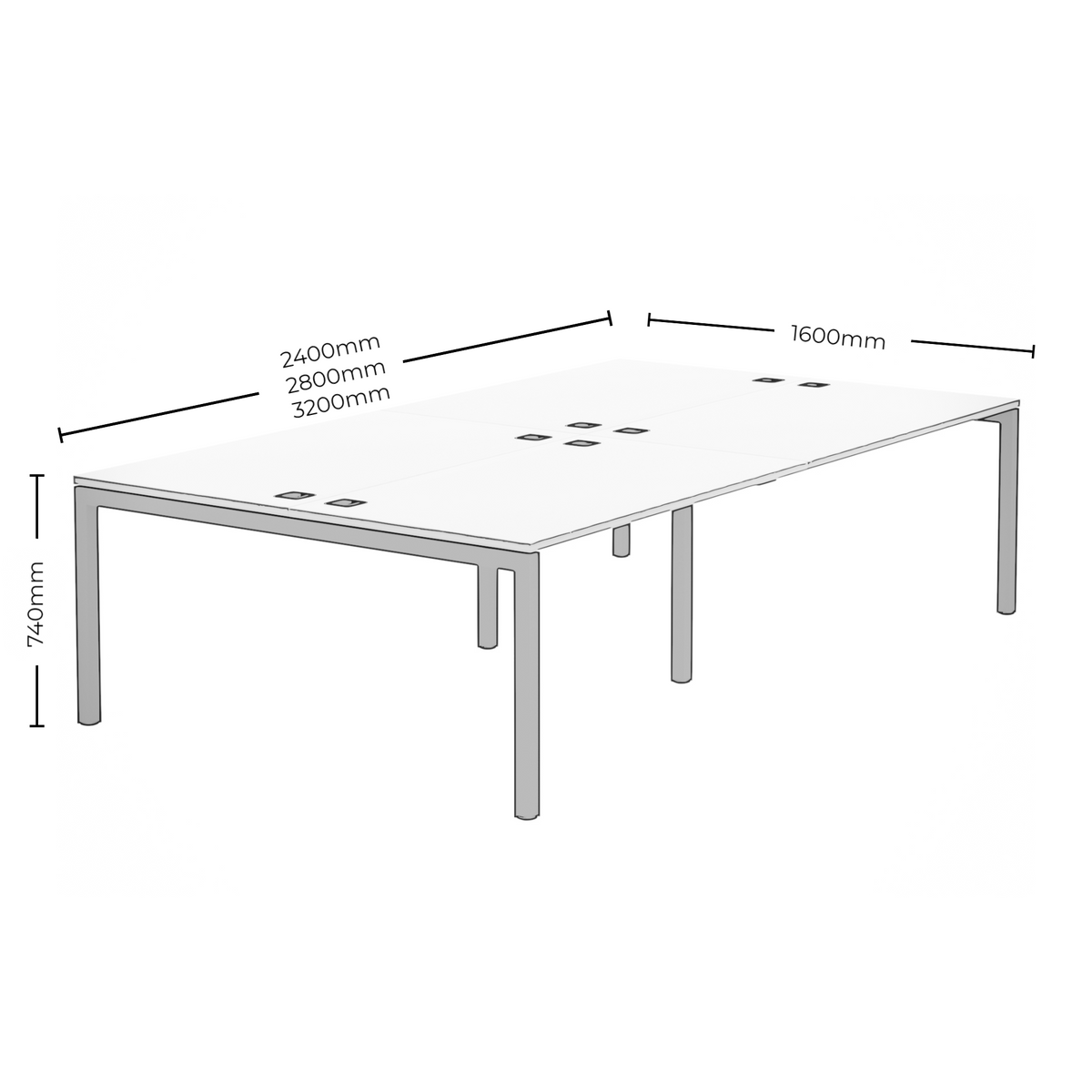 Dimensions for Elite Office Matrix Desk Bank of Four