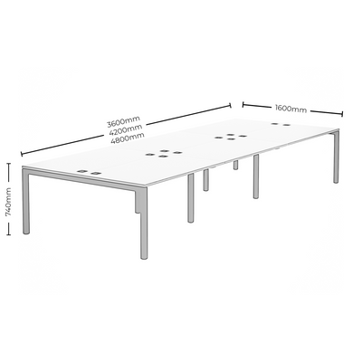 Dimensions for Elite Office Matrix Desk Bank of Six