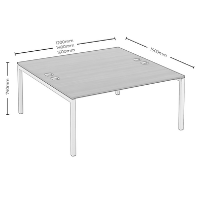 Dimensions for Elite Office Matrix Desk Dual Back to Back