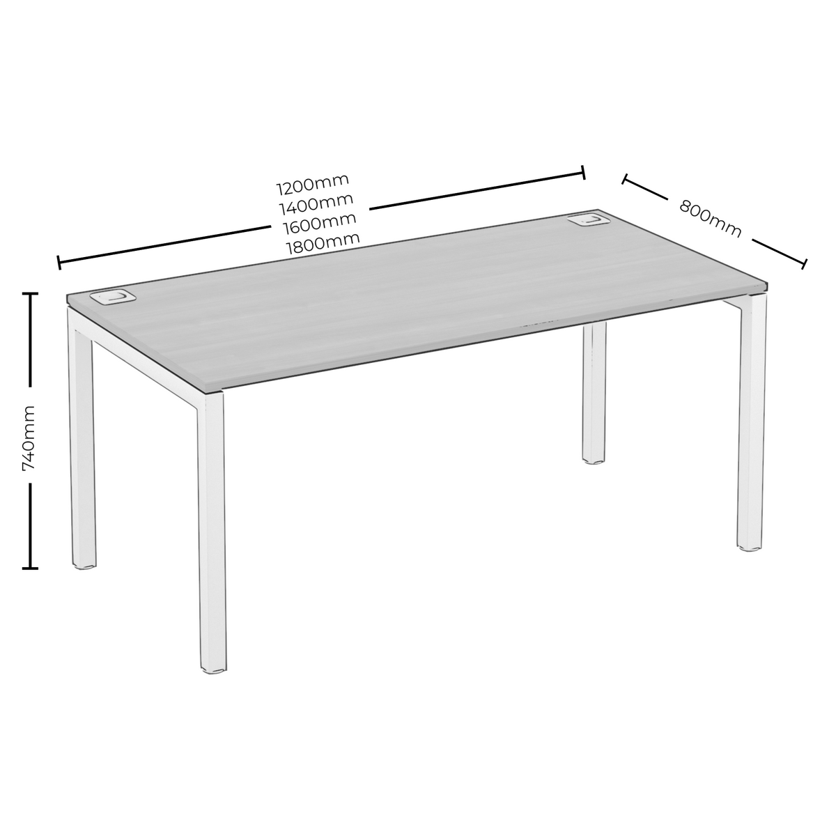 Dimensions for Elite Office Matrix Desk 1200mm