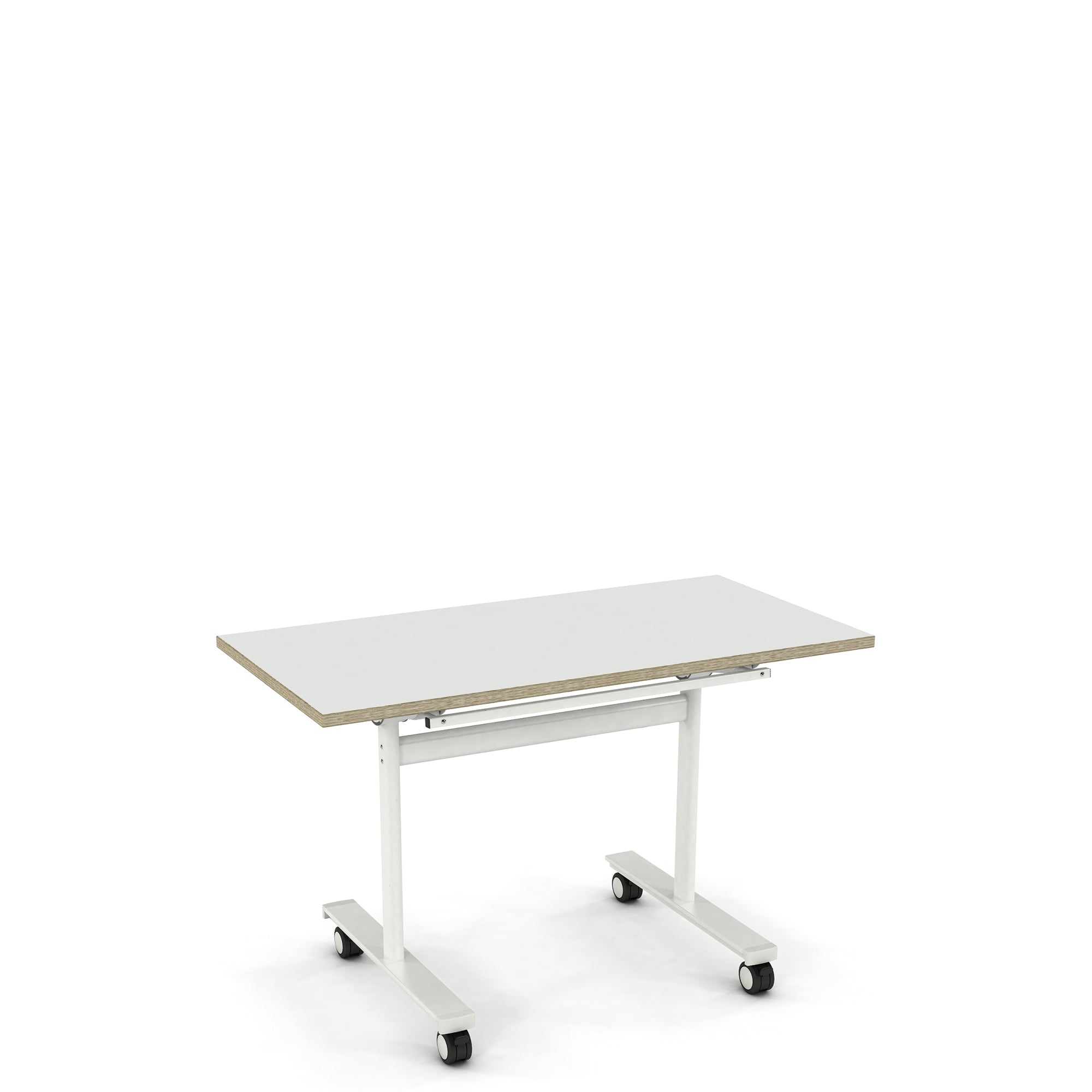 KI Europe Office Meet4 Flip Top Nesting Table Traffic White and Ply Edge with White Frame