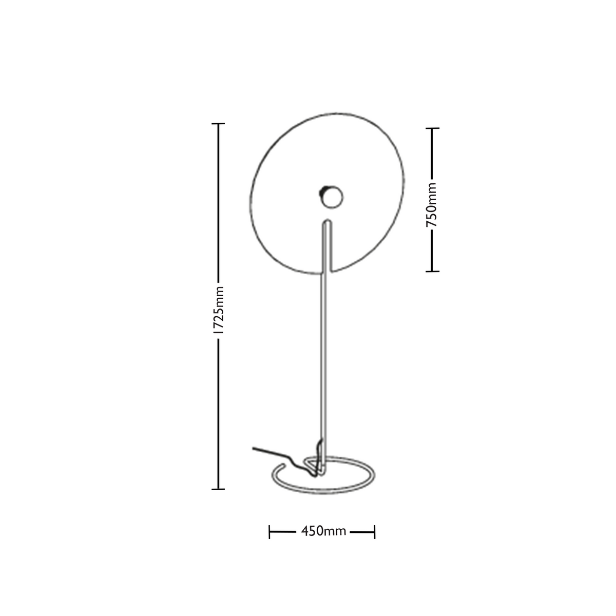 Dimensions for Wever&Ducre Office Mirro Floor Lamp 3.0