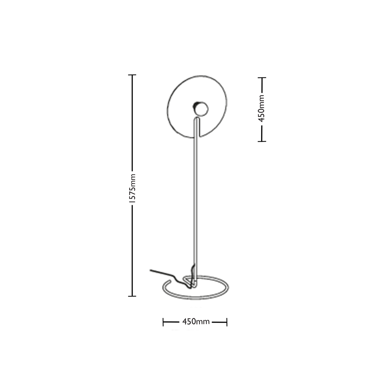 Dimensions for Wever&Ducre Office Mirro Floor Lamp 2.0
