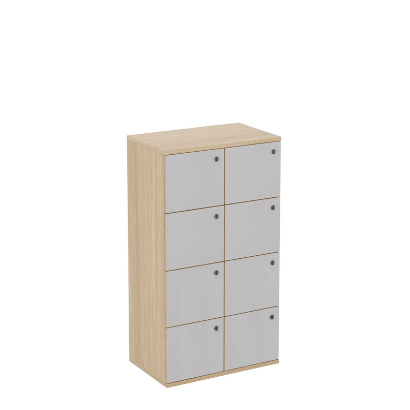 8 Door White Office Locker with Plywood Edge
