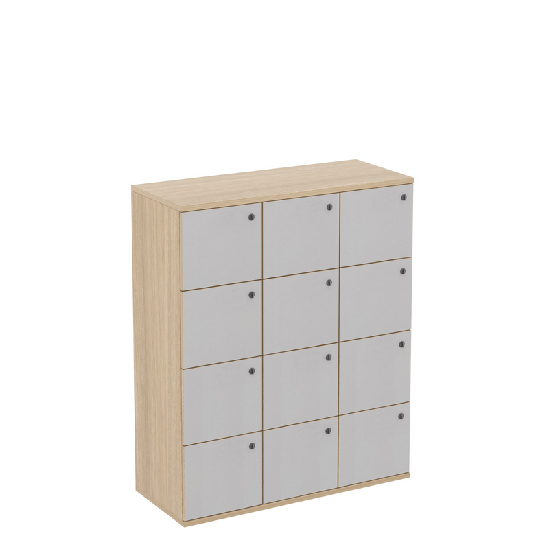 12 Door White Office Locker with Plywood Edge