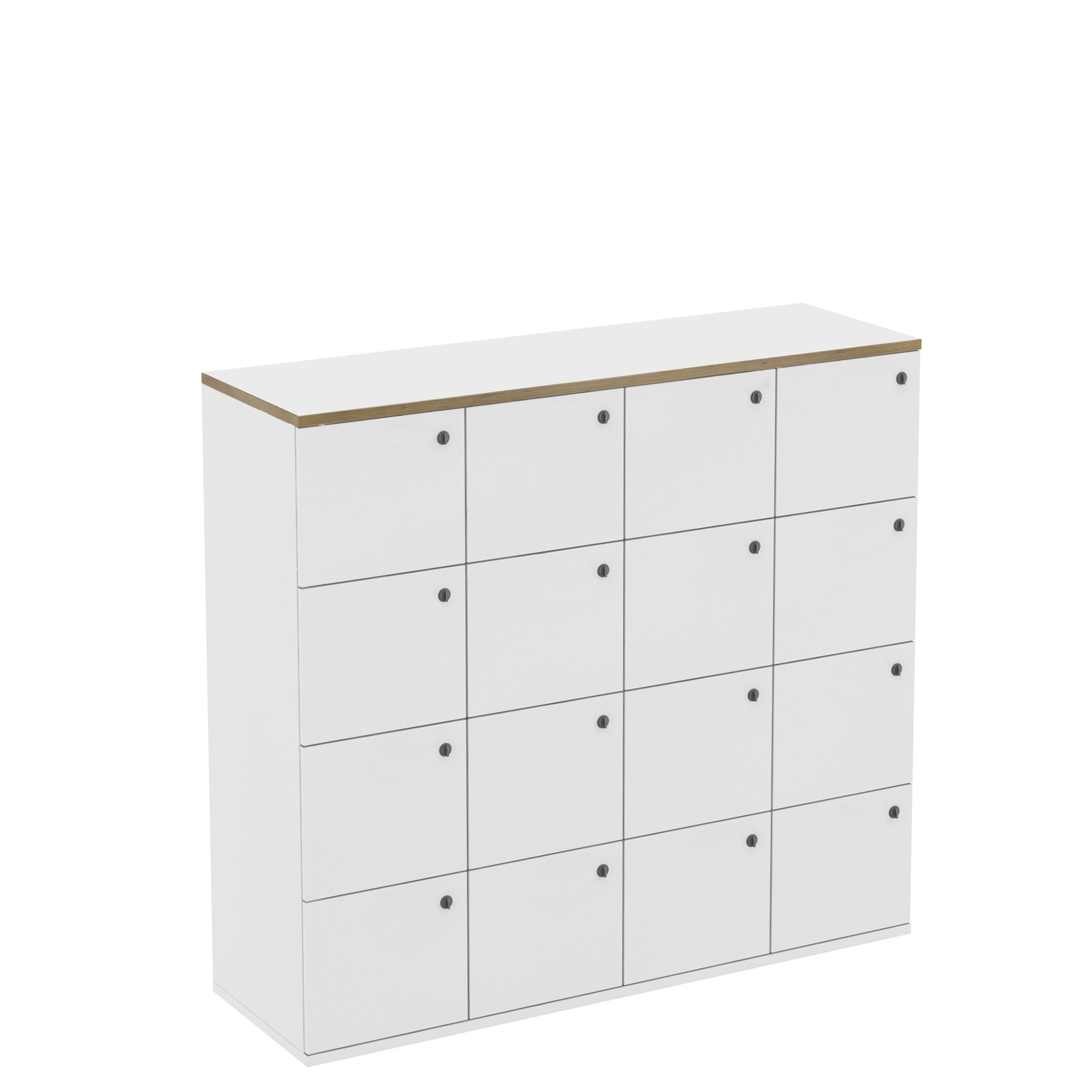 16 Door White Office Locker with Plywood Edge