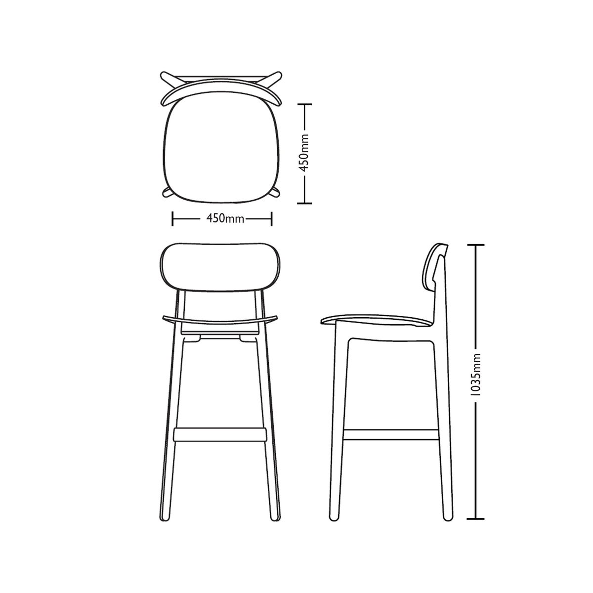 Dimensions for Modus Office PLC Bar Stool