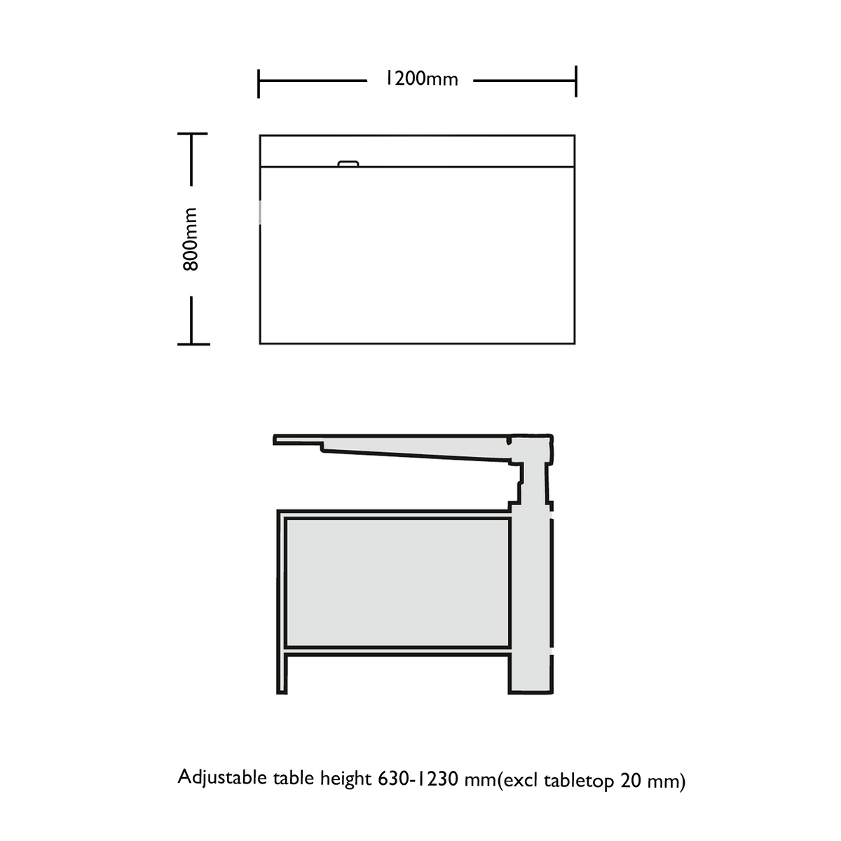 Dimensions for Edsbyn Office HiLo Single Sit Stand Desk