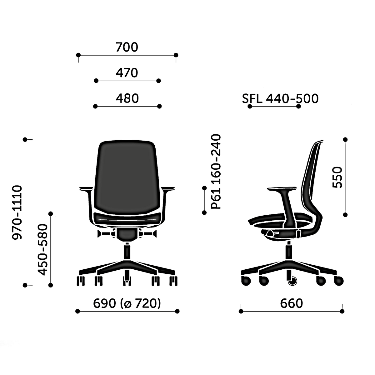 Dimensions for Spacestor LightUp Office Task Chair