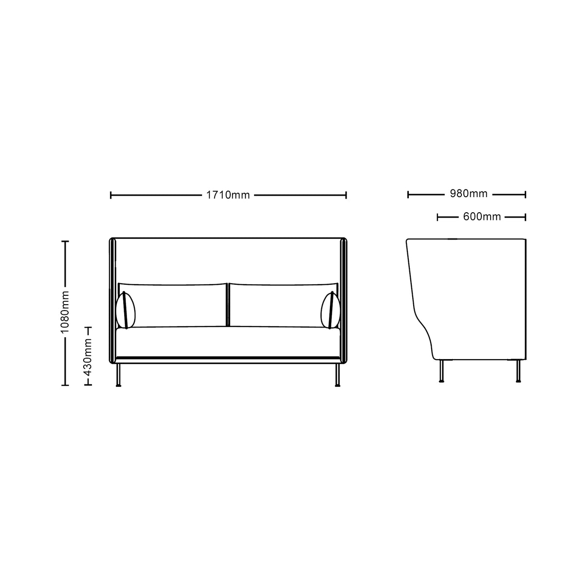 Dimensions for HAY Office Silhouette High Back Sofa 3 Seater